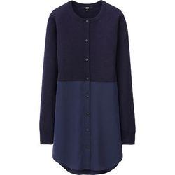 "<b>Uniqlo</b>, <a href=""http://www.uniqlo.com/us/product/women-merino-blend-combination-tunic-132085.html#69 /women/tops/sweaters/merino-blend/ "">$50</a>"