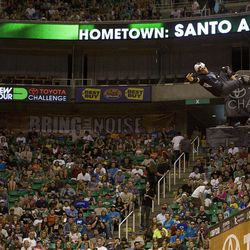Sandro Dias of Costa Mesa, Brazil skates in the vert final at Energy Solutions Arena for the Salt Lake City stop of the Dew Tour on Saturday, Sept. 10, 2011.