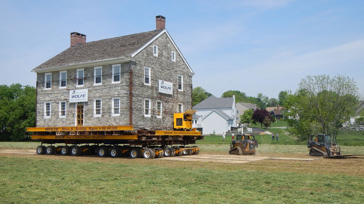 A stone house being moved in Landisville, Pennsylvania.