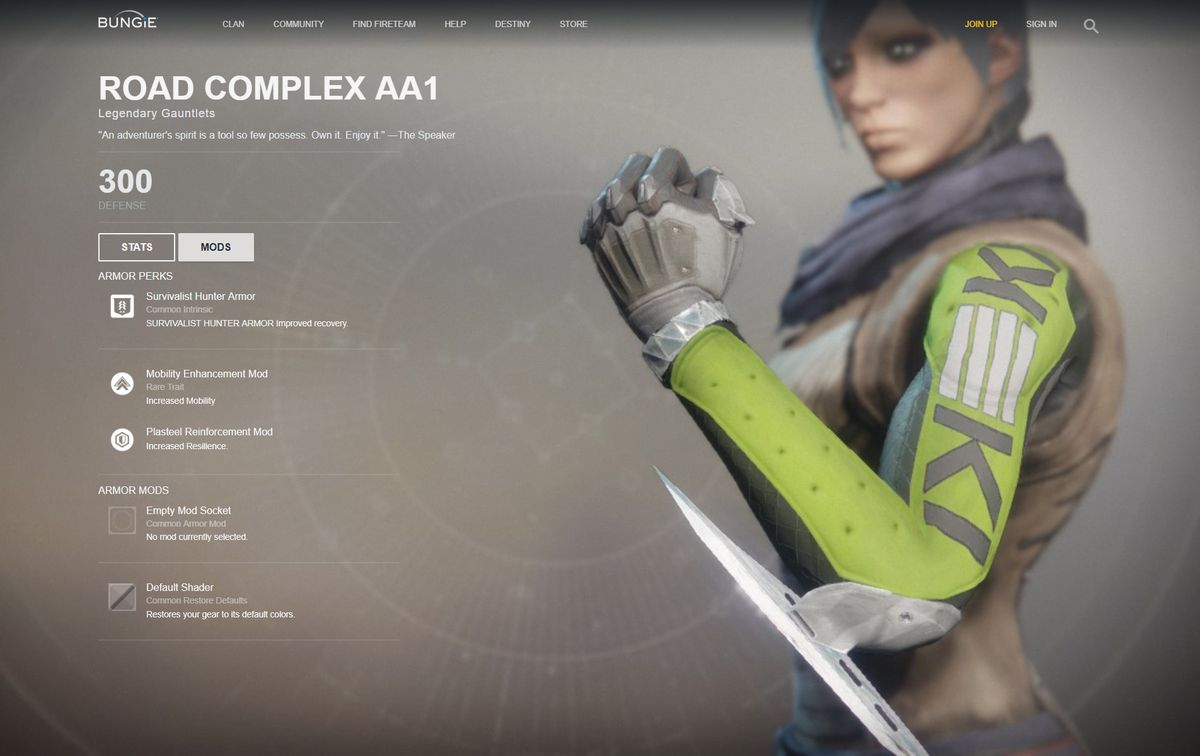 Destiny 2 - Road Complex AA1 legendary Hunter gauntlets (original form with similarities to Kek logo)