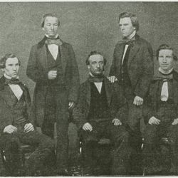 The editorial and mechanical staff of the Western Standard, June 1857. Left to right: Joseph Bull, David H. Cannon, George Q. Cannon, William H. Shearman, Matthew F. Wilkie.