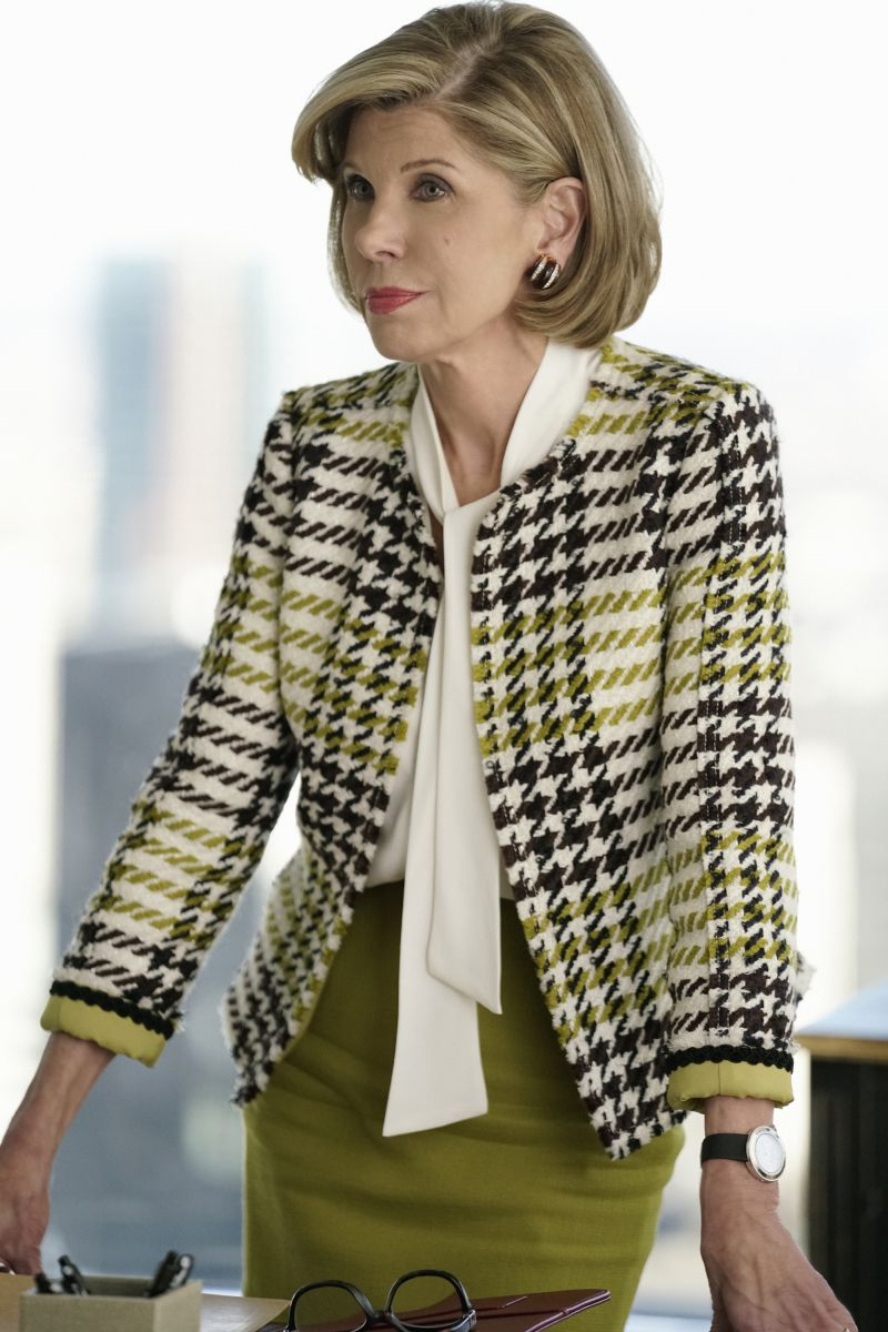 Diane Lockhart (Christine Baranski) in a Lafayette 148 skirt suit on The Good Fight.