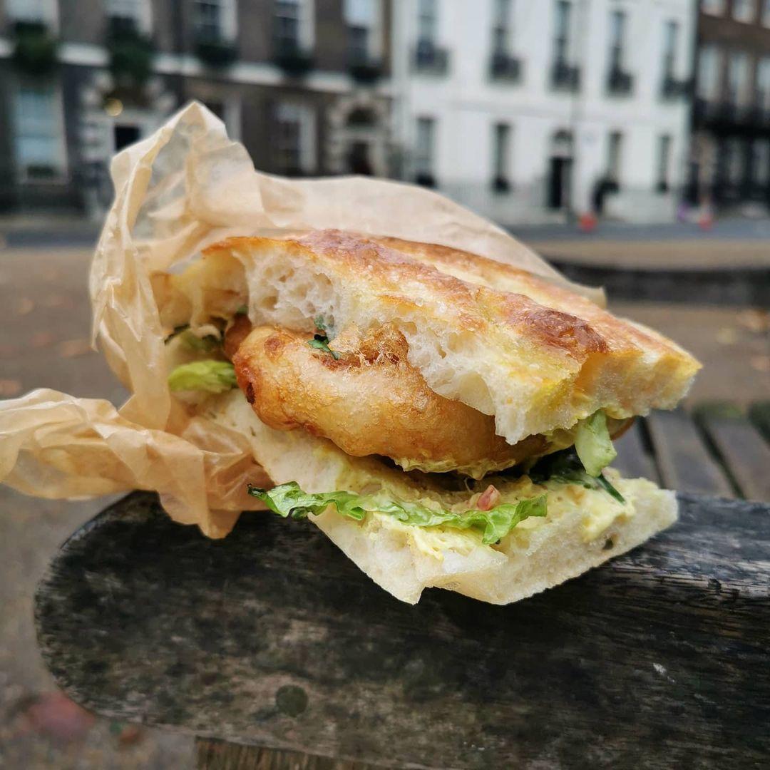 Coronation cauliflower fritter sandwich at Cafe Deco