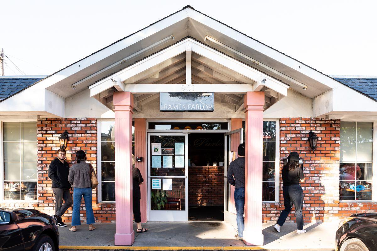 The entrance to the Ramen Parlor restaurant