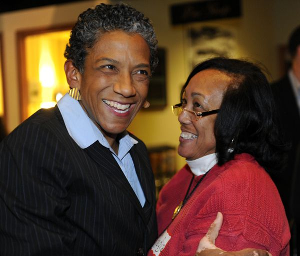Happy Haynes (left) and her sister Khadija celebrated election results showing a commanding early lead for Haynes Tuesday night. (Jack Dempsey for Ed News Colorado)