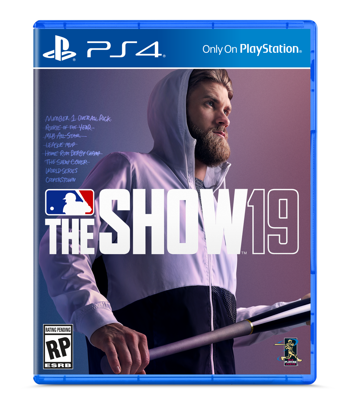 MLB The Show 19 placeholder cover with Bryce Harper in a hoodie holding a bat