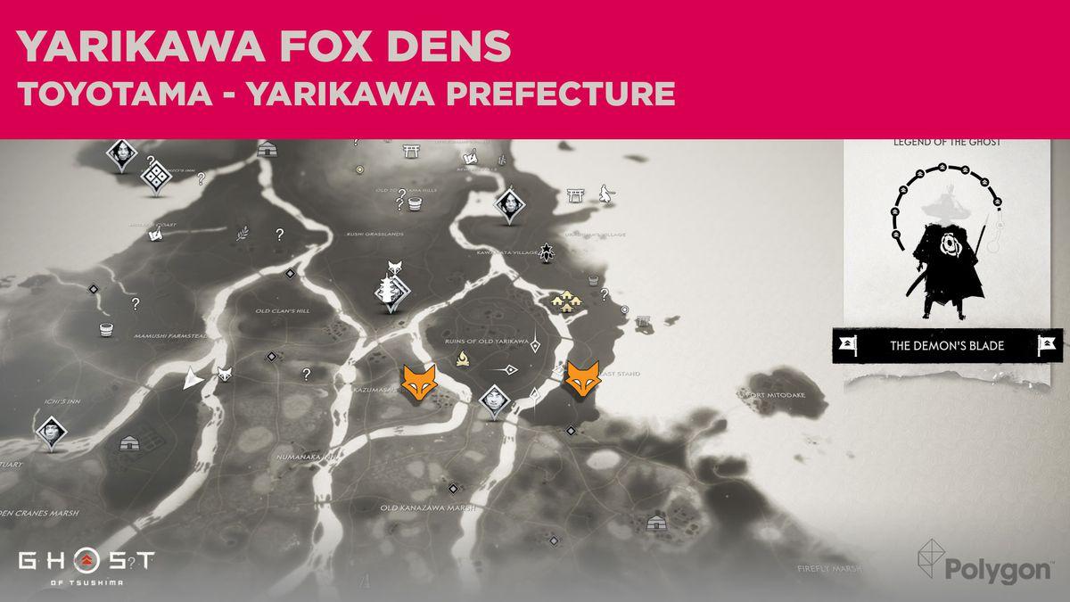 Fox Den locations in Yarikawa in Ghost of Tsushima