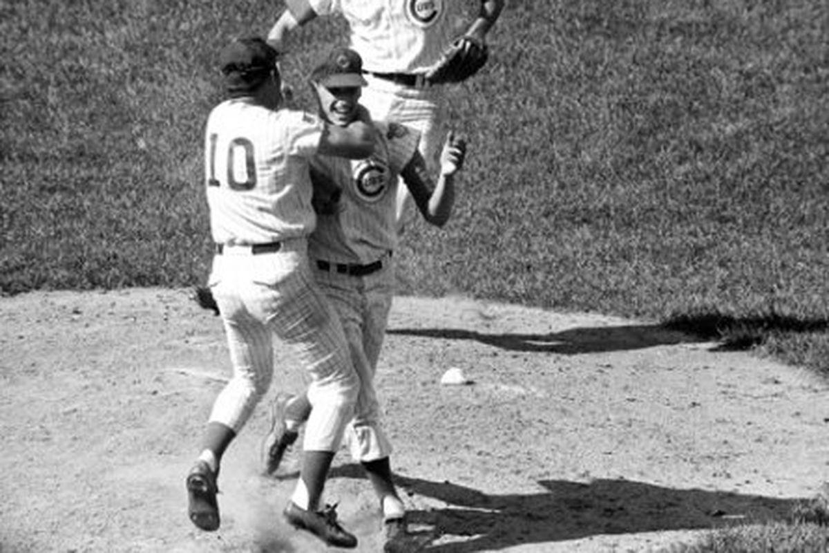 "Ron Santo hugs Kenny Holtzman after his no-hitter on August 19, 1969.  <em>photo via <a href=""http://www.nwherald.com/_internal/cimg!0/31umxynvpgphdrdx3l8nx0r65d1zp3q"" target=""_blank"">www.nwherald.com</a></em>"
