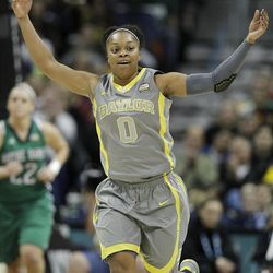 Baylor guard Odyssey Sims (0) encourages the crowd during the first half in the NCAA Women's Final Four college basketball championship game against Notre Dame, in Denver, Tuesday, April 3, 2012.  (AP Photo/Julie Jacobson)