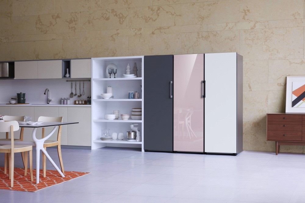 Pink, white, and gray refrigerator