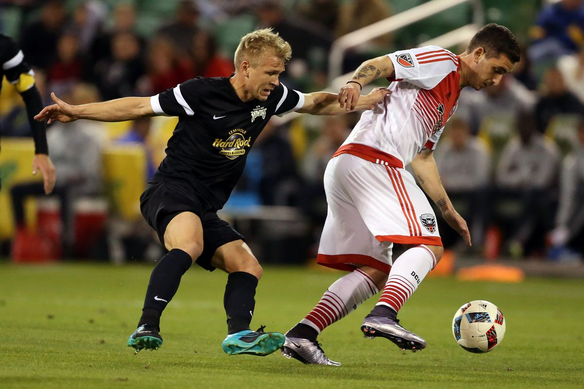 Valimaa (L) in action for the Rowdies.