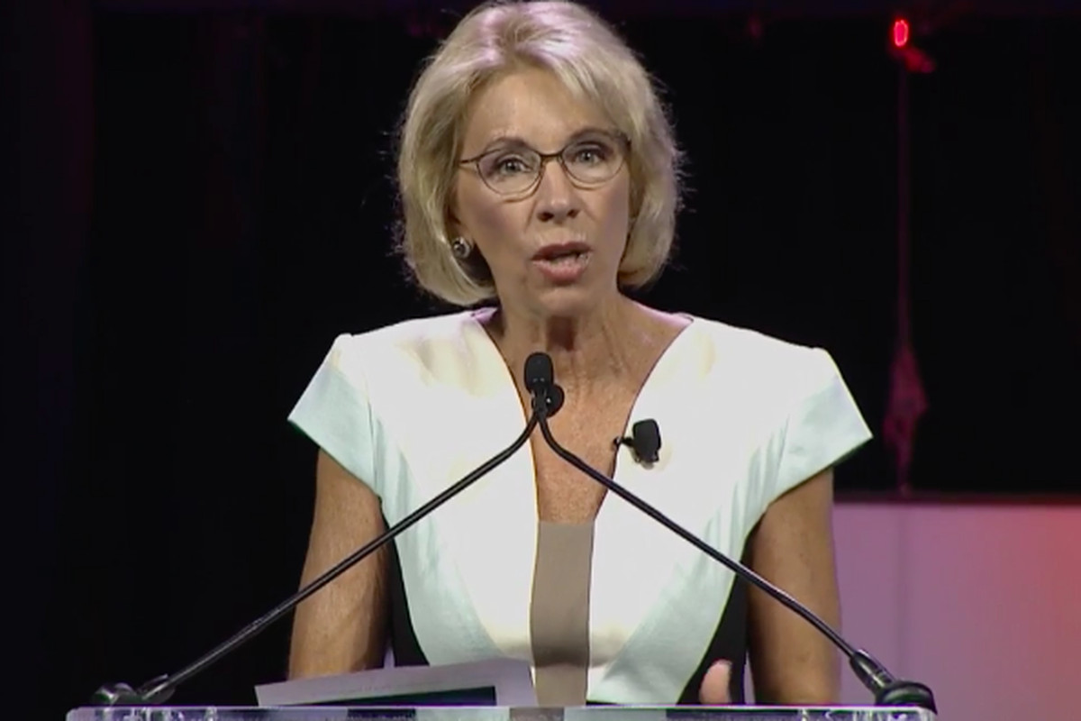 U.S. Education Secretary Betsy DeVos speaks to the National Alliance for Public Charter Schools in June 2017.