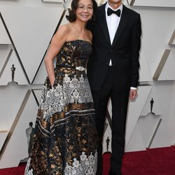 """Best Documentary nominees for """"Minding the Gap"""" Bing Liu and Diane Quon arrive for the Academy Awards. Mark Ralston / AFP/Getty Images"""