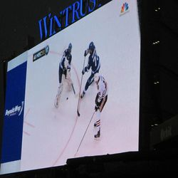 7:52 p.m. Blackhawks game on the left-field video board -