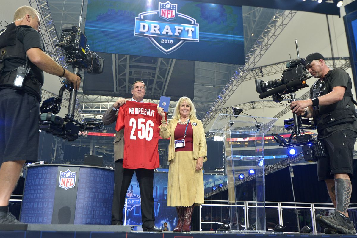 Melanie Fitch announces that the Washington Redskins picked SMU wide receiver Trey Quinn with the 256th pick, aka Mr. Irrelevant, during the final day of the 2018 NFL Draft at AT&T Stadium in Arlington, Texas, on Saturday, April 28, 2018.