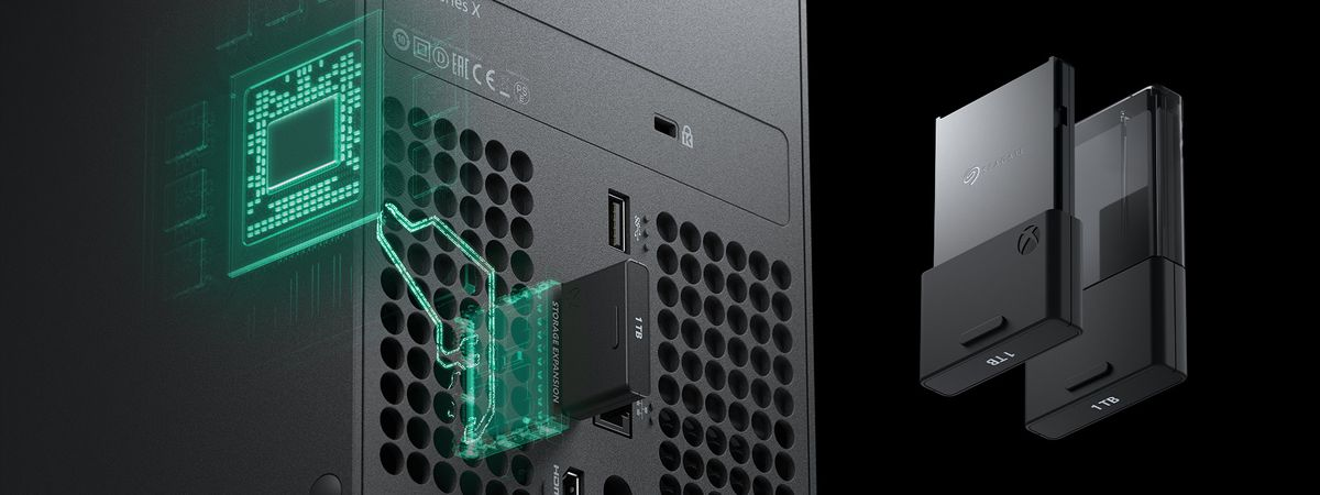 render of the Xbox Series X Storage Expansion Card's connection to the console's internal components, with renders of both sides of the card floating next to the console