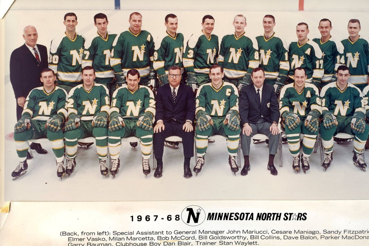 Wren Blair (front row, third from right), the first coach and general manager of the Minnesota North Stars, passed away Wednesday at age 87.