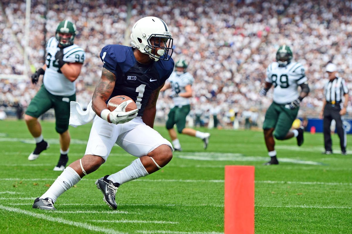 Sep 1, 2012; University Park, PA, USA; Penn State Nittany Lions running back Bill Belton (1) runs the ball for a touchdown in the first quarter against the Ohio Bobcats at Beaver Stadium. Mandatory Credit: Andrew Weber-US Presswire