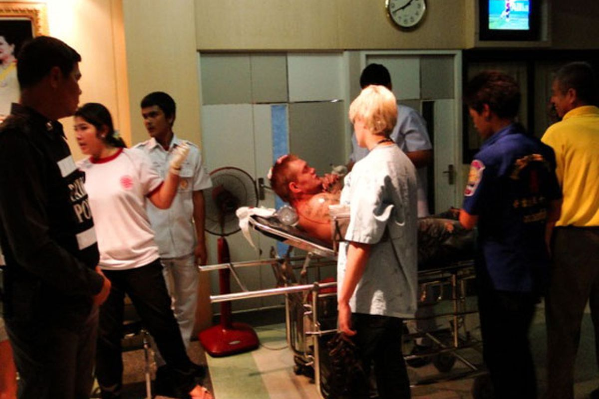 Junie Allen Browning after being admitted into Patong Hospital in Phuket, Thailand. (Photo via phuketwan.com)