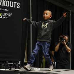 Max Holloway's son at UFC 236 workouts.