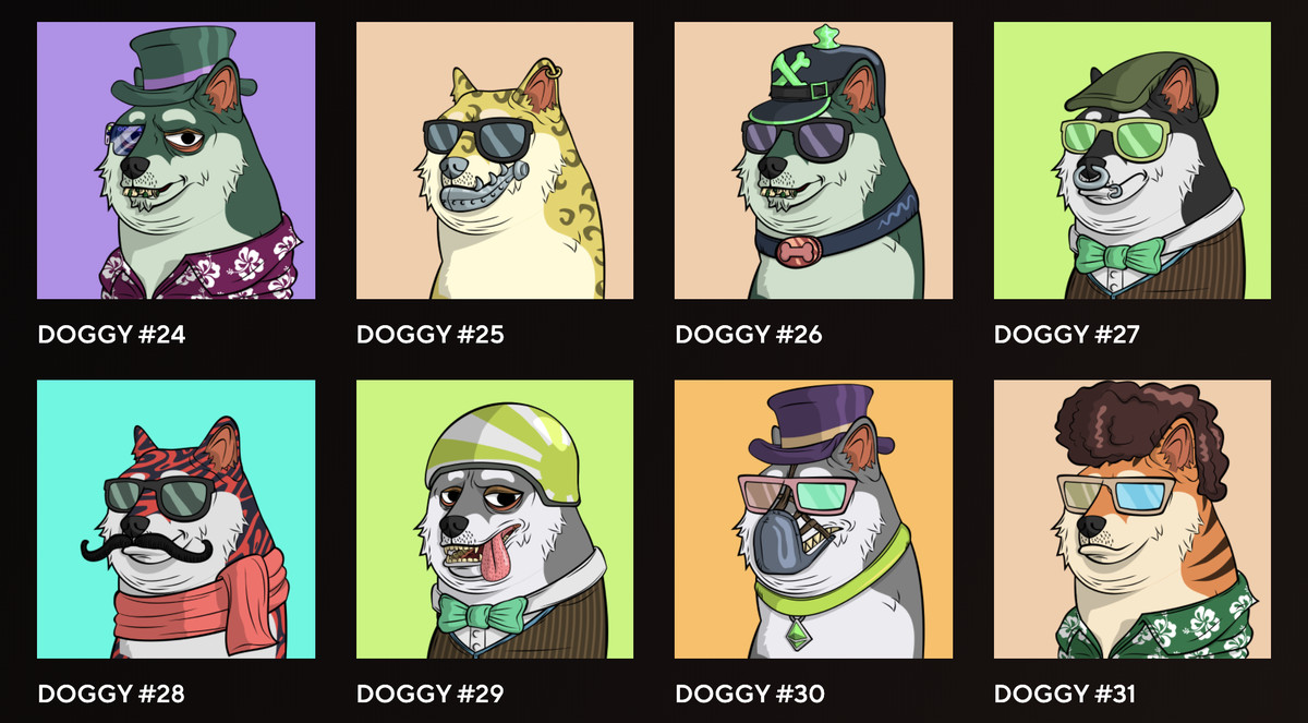 Eight dogs wearing different accessories. One has a monocle, others have sunglasses, one has a bowtie.