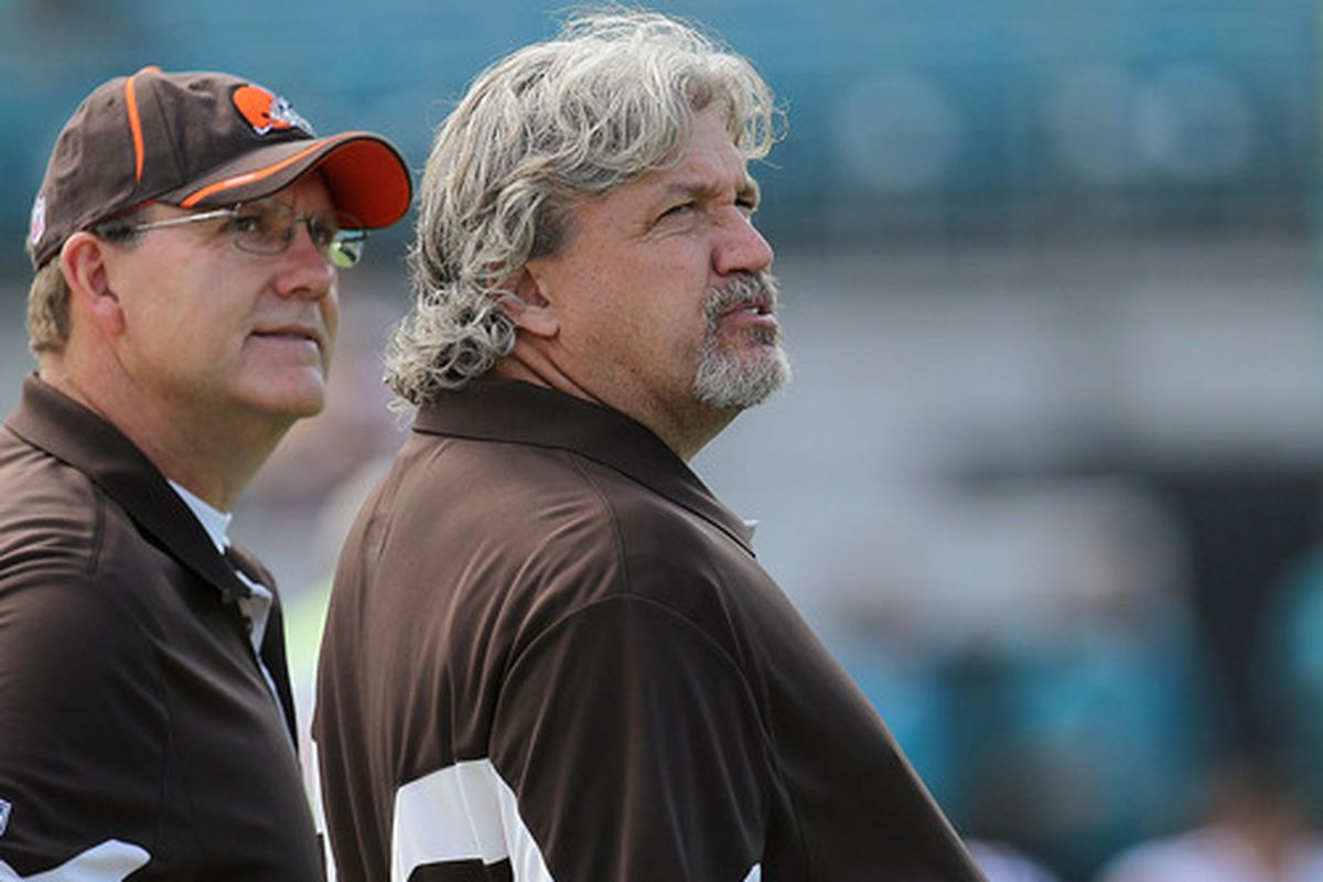 Here's Rob Ryan and some dude in Brown, since we're out of fresh Dallas pics of Ryan. Someone needs to photoshop him into Saints gear.