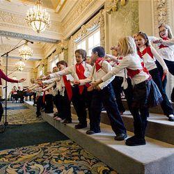 Members of the Lone Peak Elementary School Choir perform at Joseph Smith Memorial Building in Salt Lake City Saturday.
