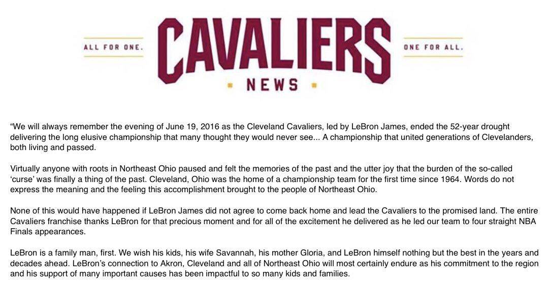 Dan Gilbert's latest LeBron farewell letter came without
