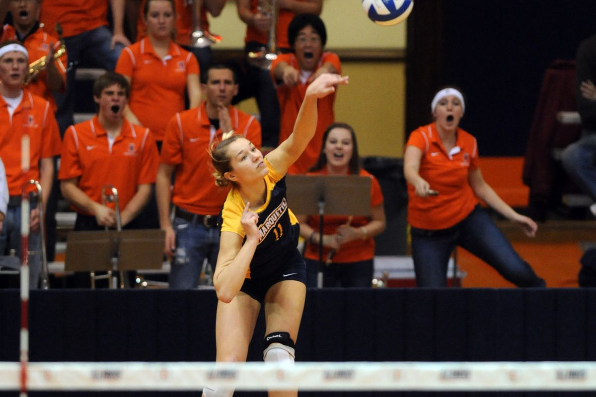 Lindsey Gosh's lethal lefty serve accounted for two aces on MU's 18-1 closing run against Providence