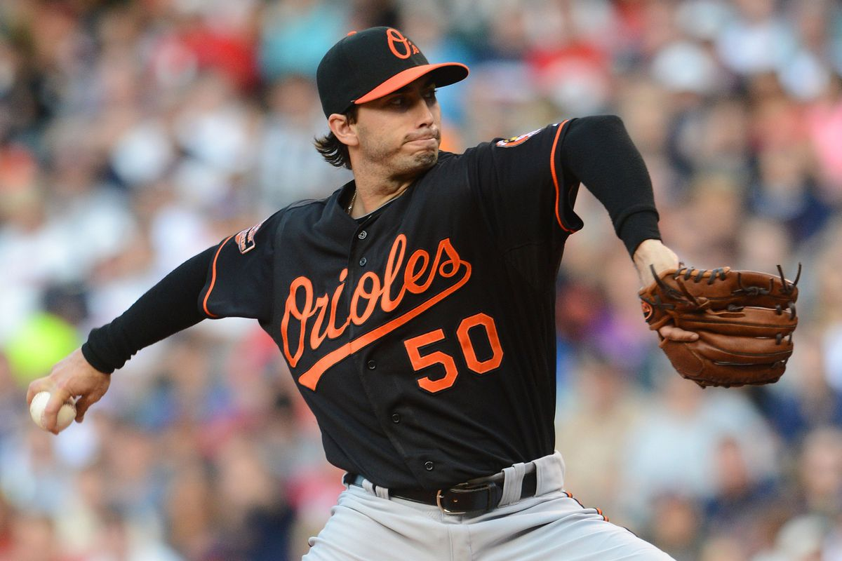 Cleveland, OH USA: Baltimore Orioles starting pitcher Miguel Gonzalez (50) throws a pitch in the second inning against the Cleveland Indians during the game at Progressive Field.  Mandatory Credit: Eric P. Mull-USPRESSWIRE