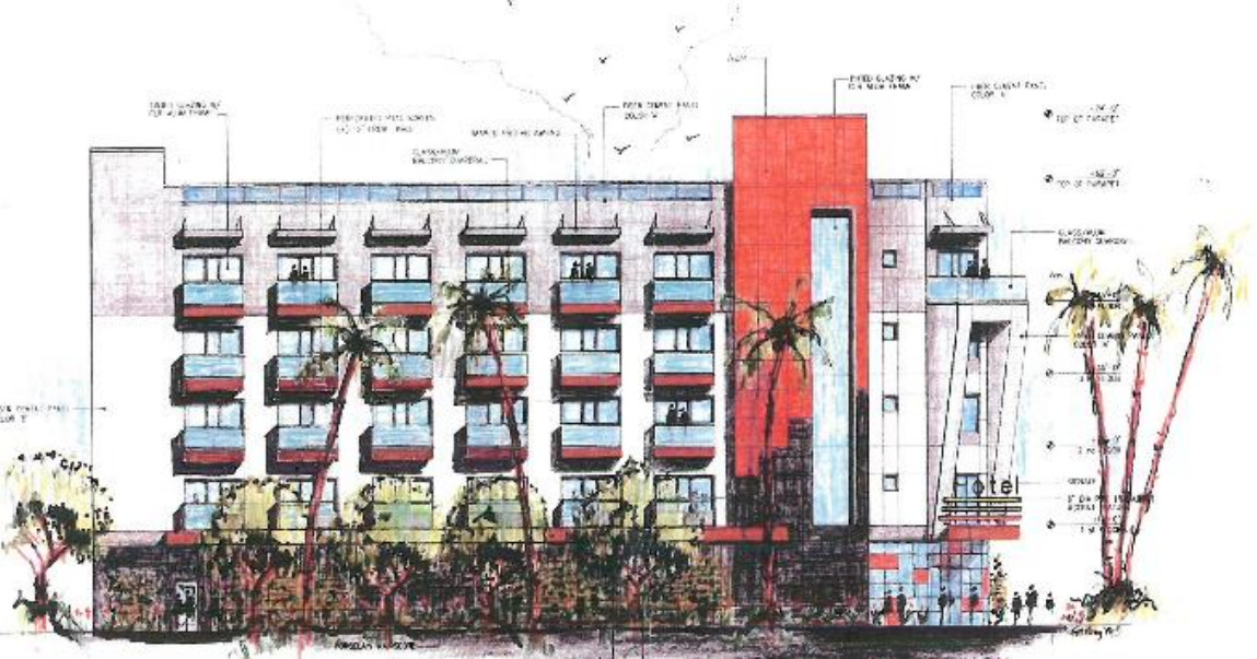 A drawing of the project which shows balconies outside of every window and landscaping along the lower floors.