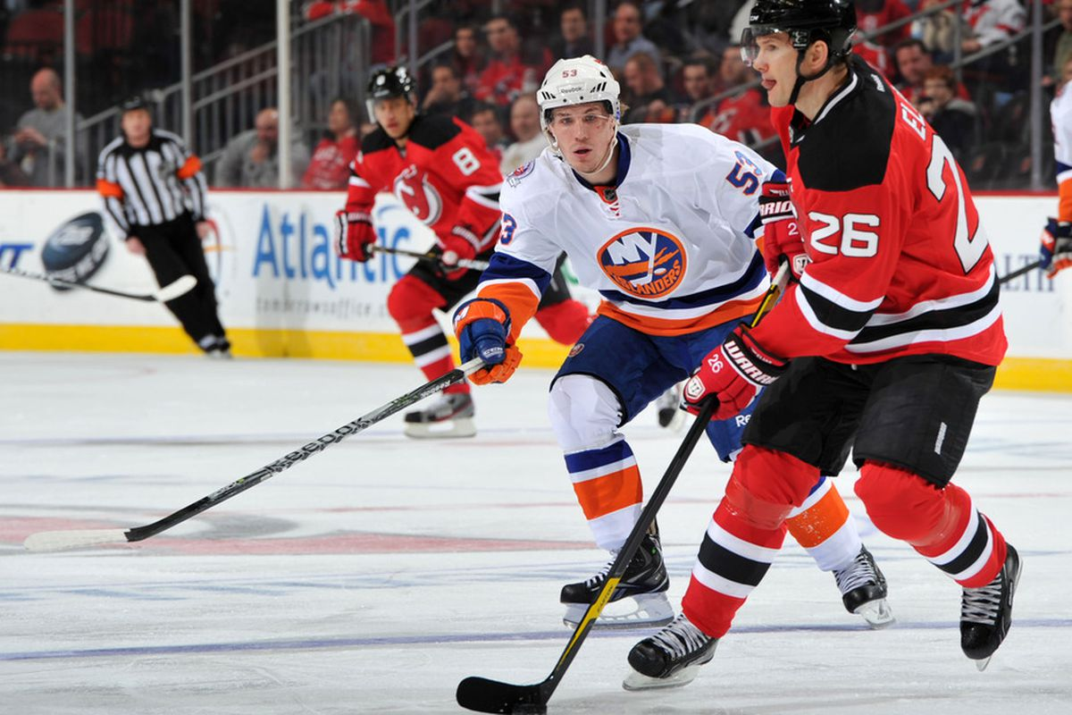 Head up, puck in control, and Elias is about to make something else happen.  The tongue being out is optional, though.