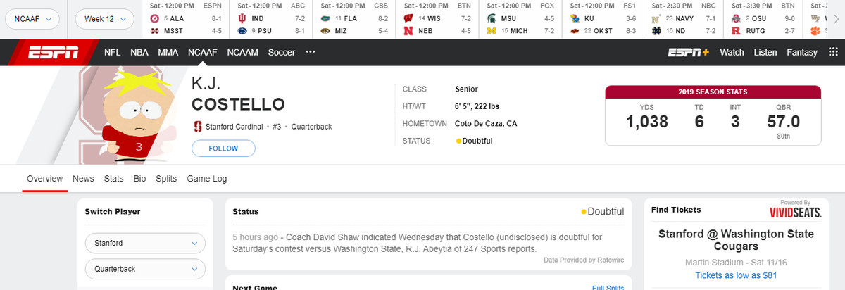 KJ Costello's page on ESPN.