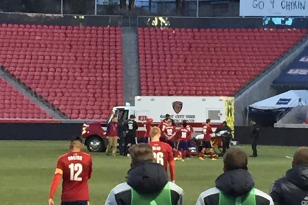 Omar Holness is attended to by medical personnel after Holness suffered a seizure during the Real Monarchs' season opener against St. Louis FC on Saturday, March 26, 2016, at Rio Tinto Stadium in Sandy.