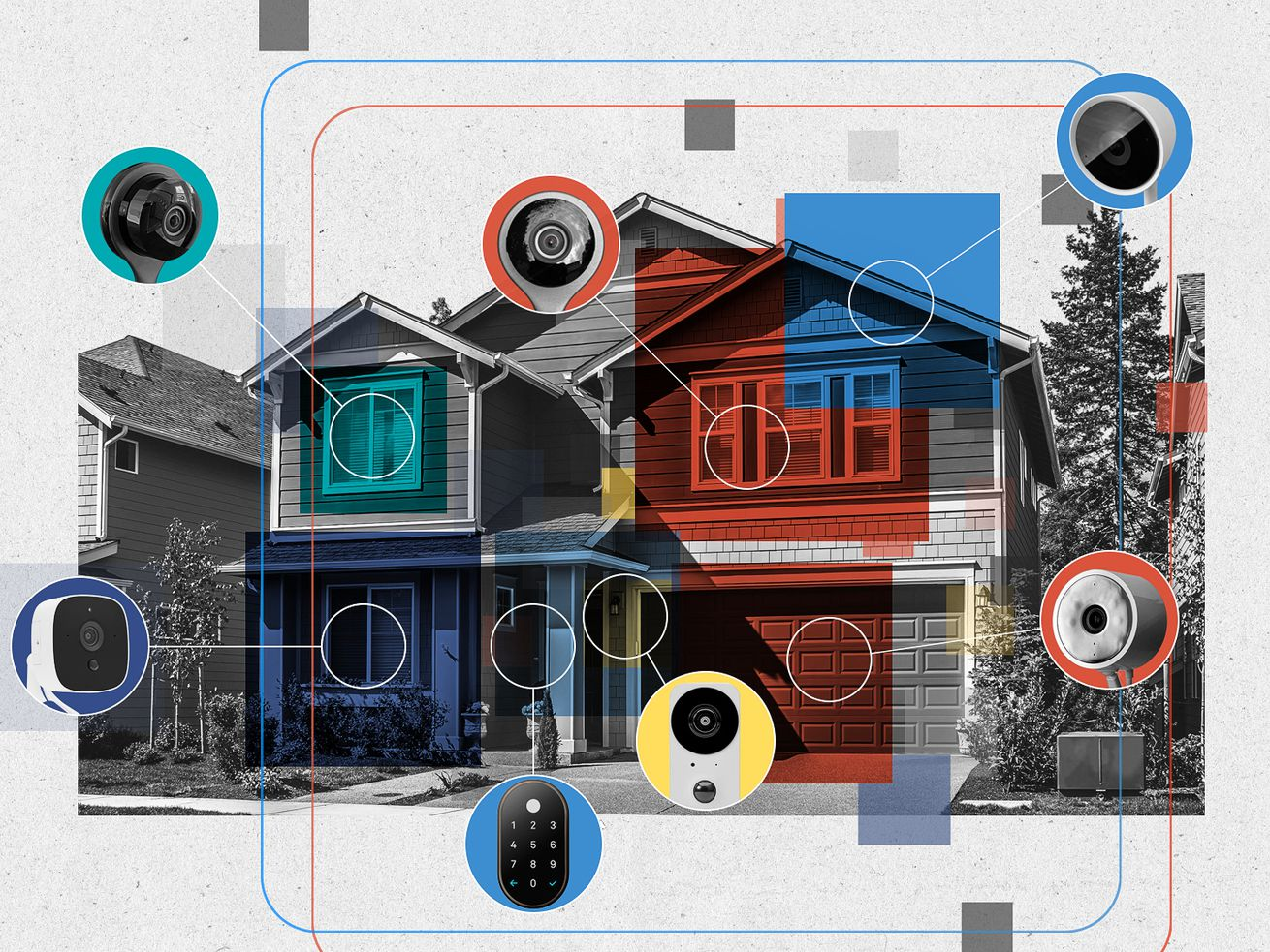 Graphic illustration of a house overlaid with different colored blocks and various home security devices.
