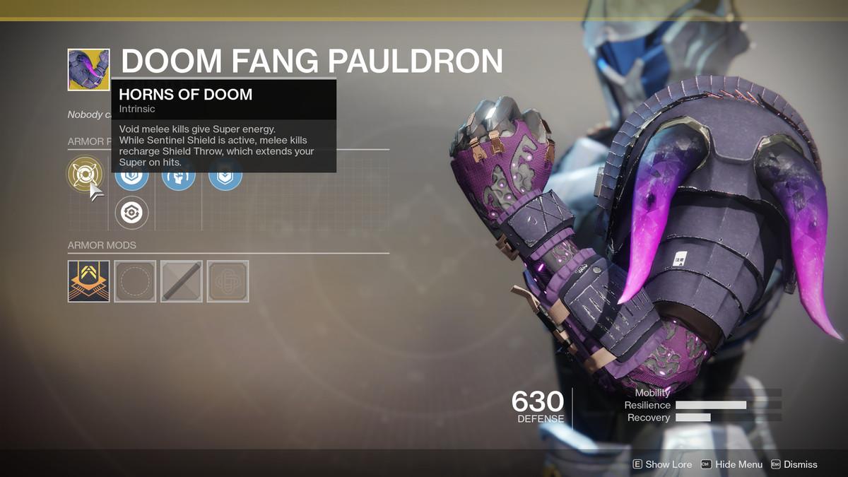 Doom Fang Pauldron Exotic Destiny 2