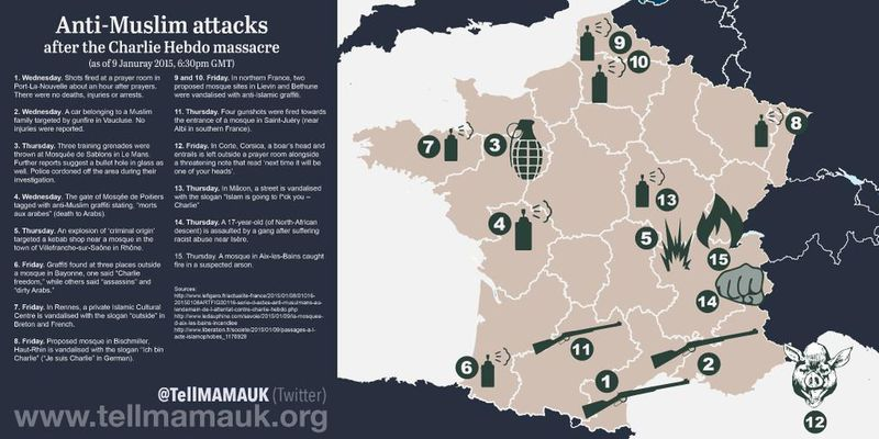 This map shows every attack on French Muslims since Charlie Hebdo