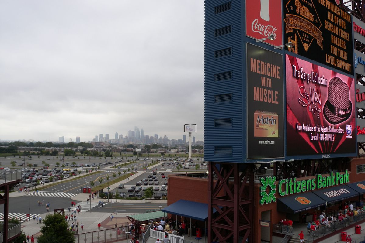 The Philadelphia skyline from the third level of Citizens Bank Park. It's the only place in the park you can see this. <em>(BCB photo by Al)</em>