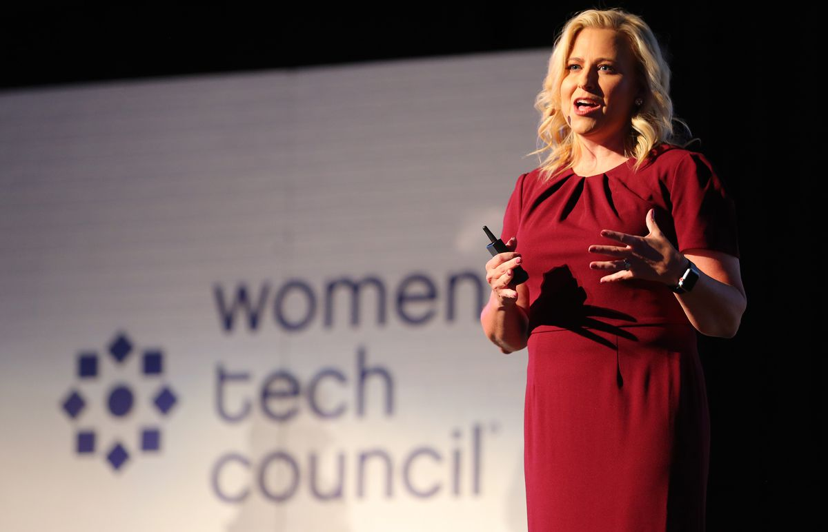 Women Tech Council President Cydni Tetro speaks at the Women Tech Awards at Thanksgiving Point in Lehi on Wednesday, Oct. 28, 2020. The awards recognized the women and innovations spurring economic growth, driving innovation and fighting COVID-19.