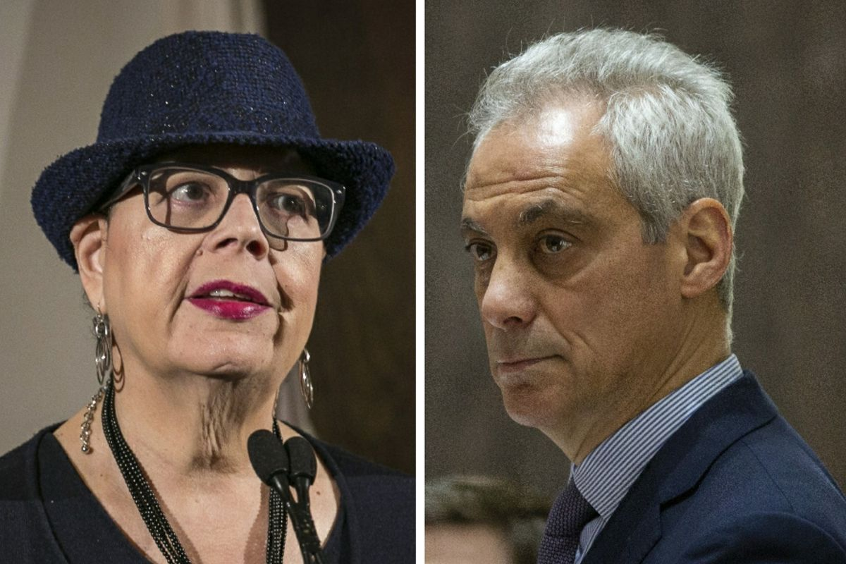 Chicago Teachers Union President Karen Lewis, left, at the City Club of Chicago in 2017; Mayor Rahm Emanuel, right, at a City Council meeting in 2018.