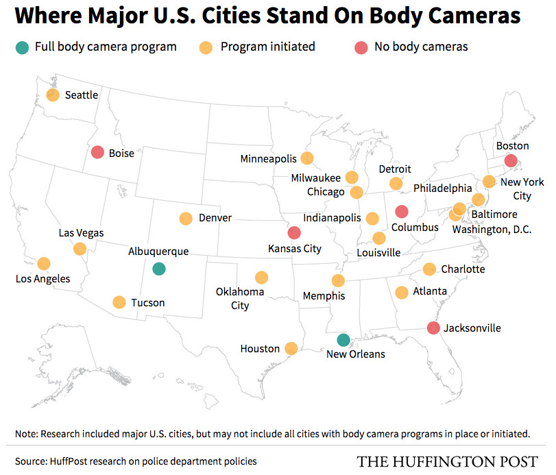 A map of police departments with and without body cameras.
