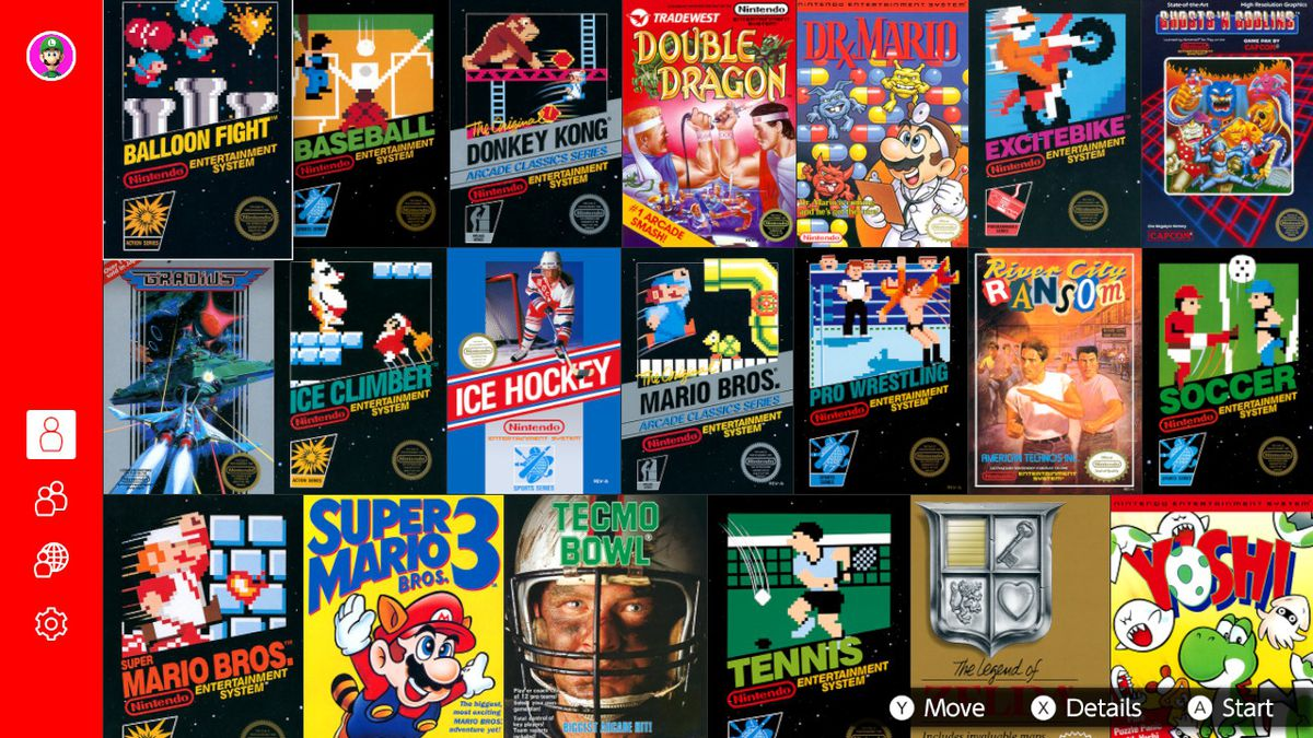 Nintendo Switch Online NES game library