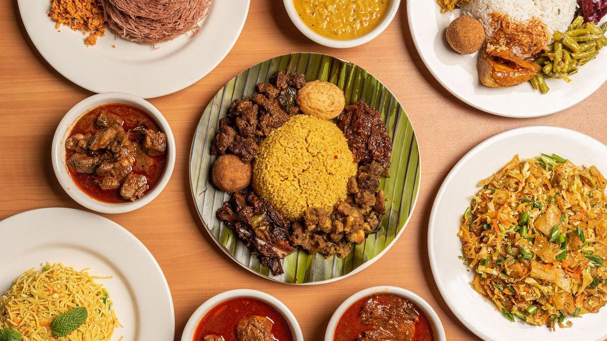 Spread of Sri Lankan dishes from Baja Subs in Northridge.