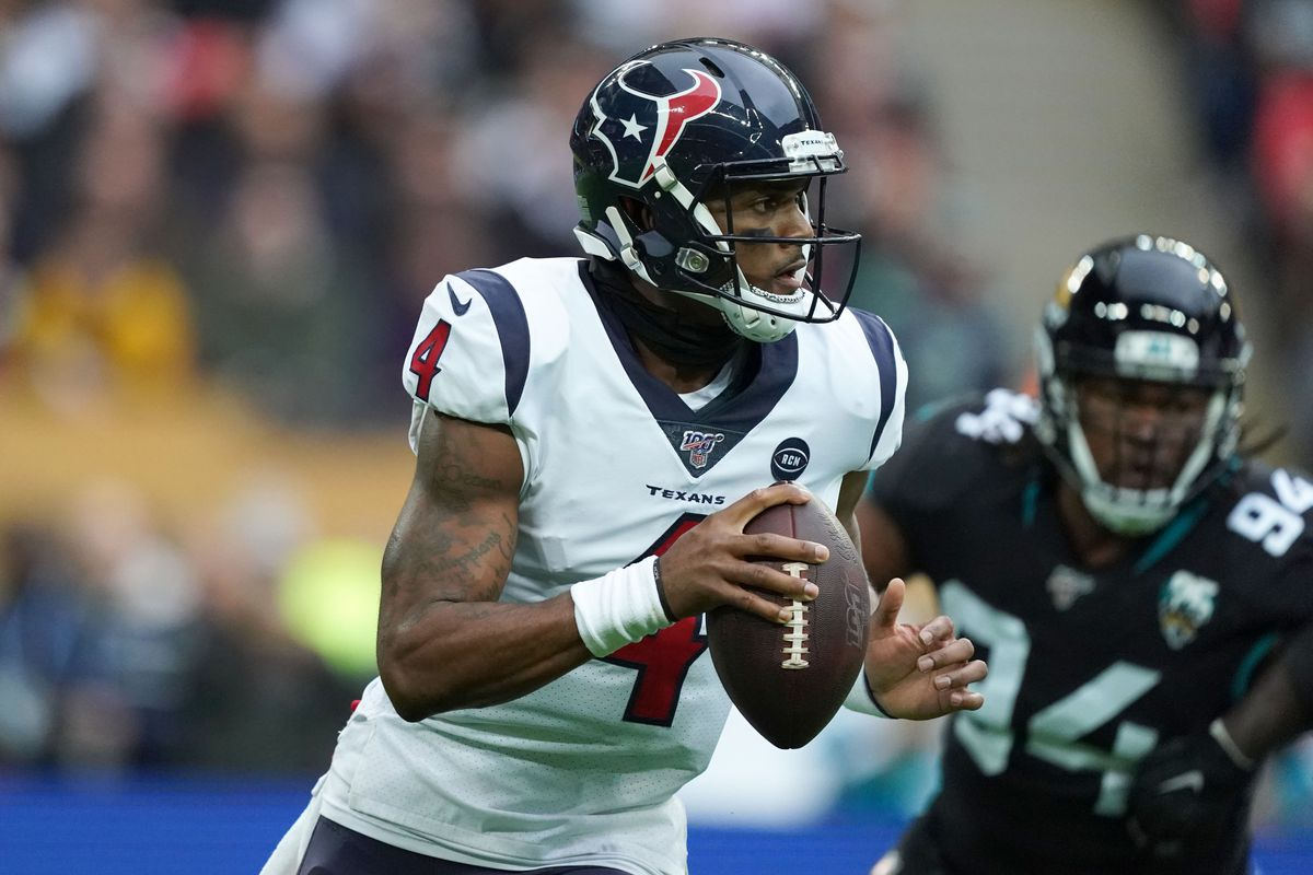 Houston Texans quarterback Deshaun Watson throws the ball in the first half against the Houston Texans during an NFL International Series game at Wembley Stadium.