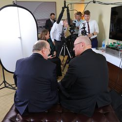 Elder Quentin L. Cook, a member of the Quorum of the Twelve Apostles of The Church of Jesus Christ of Latter-day Saints, left, and Cardinal Timothy Dolan, archbishop of New York, talk prior to an interview during the Notre Dame Religious Liberty Summit at the University of Notre Dame in South Bend, Ind., on Monday, June 28, 2021.
