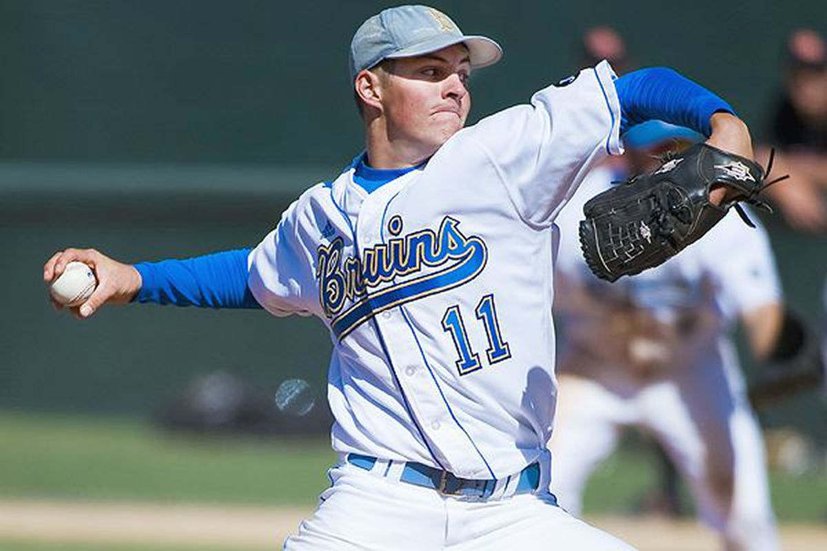 Trevor Bauer pitching for the UCLA Bruins. (Photo courtesy of UCLA)