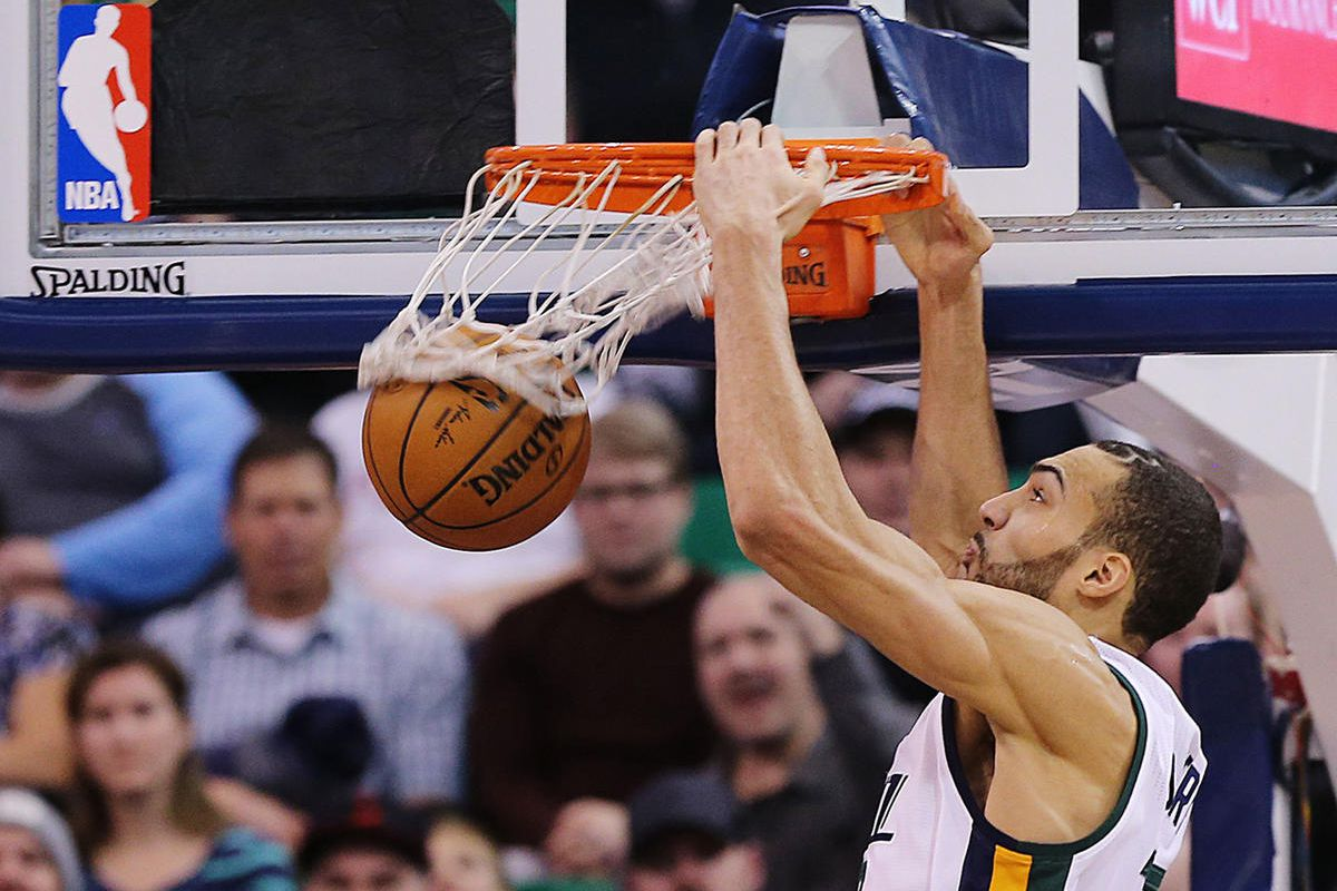 Utah Jazz center Rudy Gobert (27) dunks the ball as the Jazz and the Pacers play at Vivint Smart Home Arena in Salt Lake City on Saturday, Jan., 21, 2017.