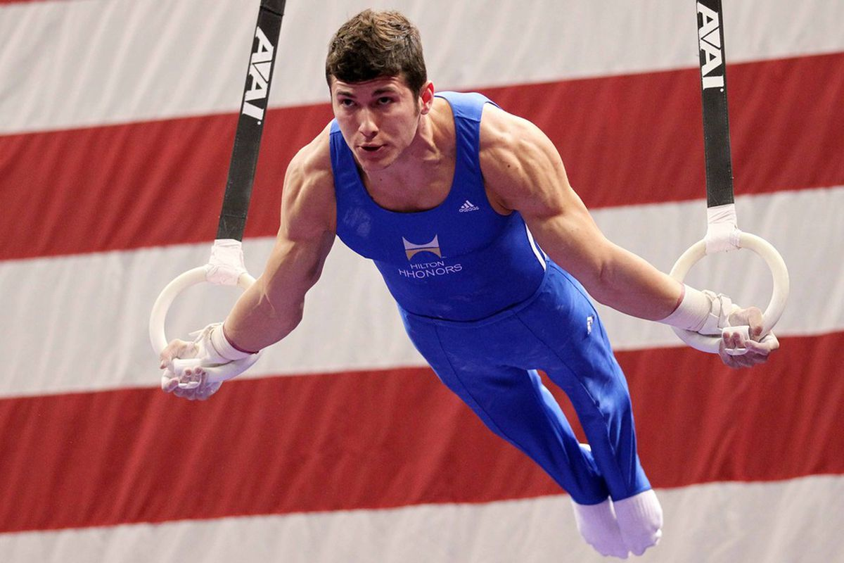 Jun 9, 2012; St. Louis, MO, USA; Alexander Naddour (USA) competes on the still rings during day two of the 2012 Visa Championships in mens gymnastics at Chaifetz Arena. Mandatory Credit: Stew Milne-US PRESSWIRE