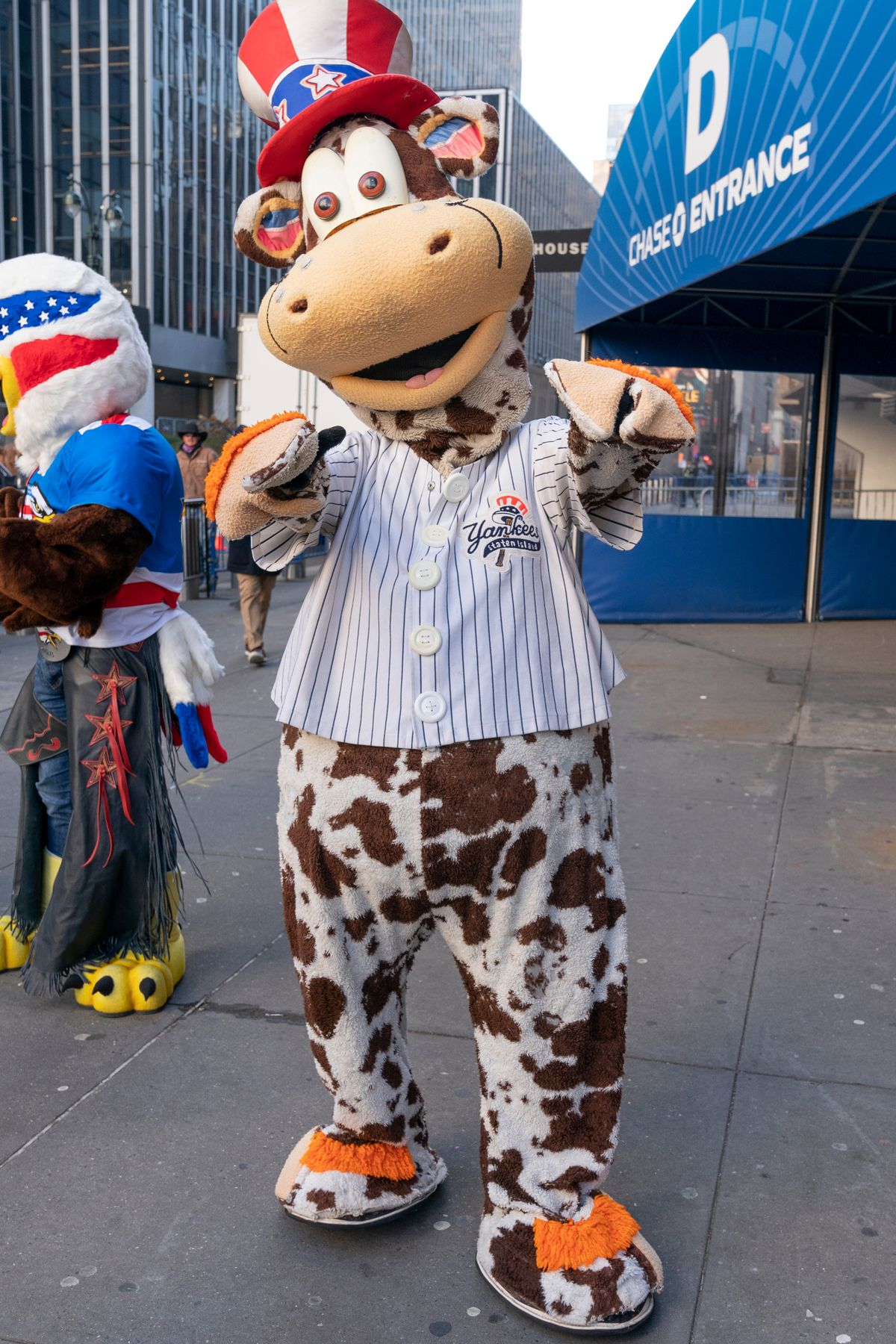 S.I. Yankees mascot Scooter the Holy Cow at the Tribeca Film festival on Greenwich Street in Manhattan, on April 28, 2012.