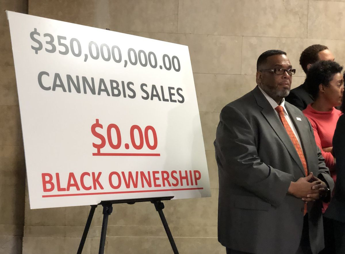A sign displayed at a City Hall news conference by the Chicago City Council's Black Caucus.